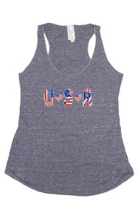 Women's USA Flag Tri-Blend Tank Top Love & Peace: DENIM (Small)