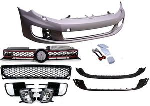 10-14 VW MK6 Golf/Jetta Sportwagen GTI Style Front Bumper w/ Fogs + Grilles
