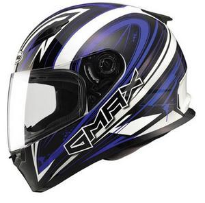 G-Max FF49 Warp Helmet Warp White/Blue (Blue, X-Large)