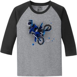Factory Effex Moto-Kids Youth 3/4 Sleeve T-Shirt Black/Gray (Gray, Large)
