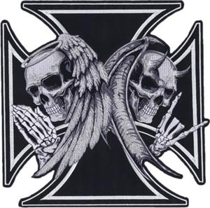 Lethal Threat LT30174 Angel Devil Iron Cross Embroidered Patch