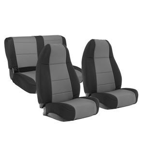 Smittybilt 471122 Neoprene Seat Cover 91-95 Wrangler YJ Blk/Charcoal Front/Rear