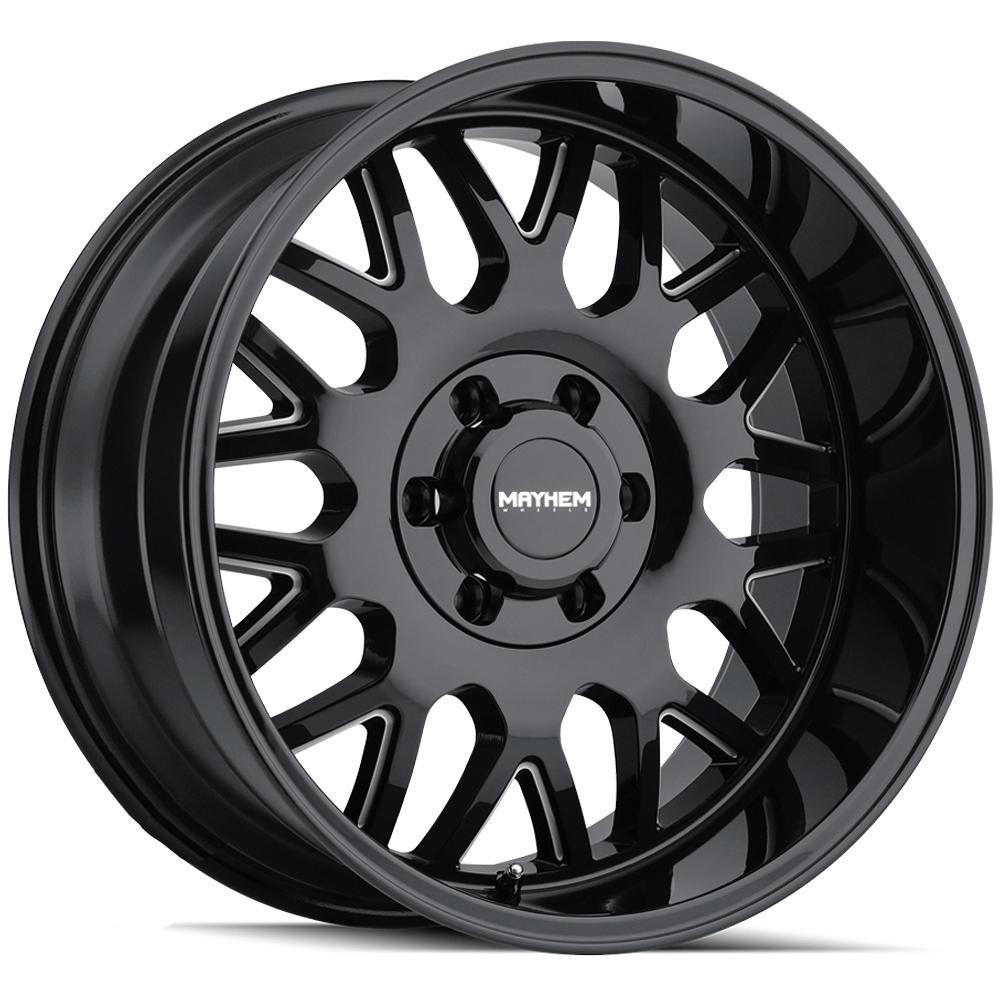 "4-Mayhem 8110 Tripwire 20x9 8x6.5"" +18mm Black/Milled Wheels Rims 20"" Inch"