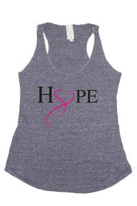 Women's HOPE & LOVE Breast Cancer Awareness Tri Blend Tank: DENIM (SMALL)