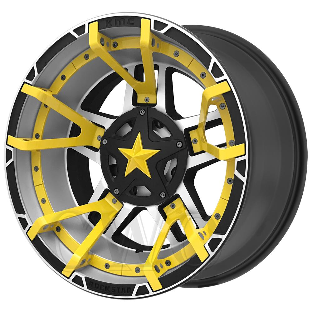 "XD827 Rockstar 3 20x9 8x180 -12mm Machined/Yellow Split Wheel Rim 20"" Inch"