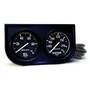 AutoMeter 2392 Autogage Oil/Water Black Steel Console
