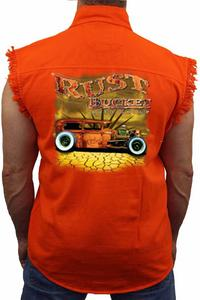Men's Sleeveless Denim Shirt Rusty Bucket Auto Group: ORANGE (4XL)