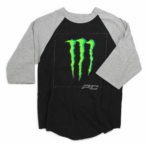Pro Circuit D-Squared Raglan 3/4 Sleeve T-Shirt Black/Heather Gray (Black, Large)