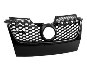 06-09 VW MK5 JETTA/GLI/GTI MAIN UPPER HEX MESH GRILLE - BLACK W/ CHROME TRIM