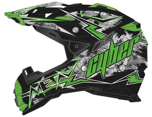 Cyber Adult Motorcycle Mx Atv Helmet Ux 28 Lightning Black Green S Motoroso