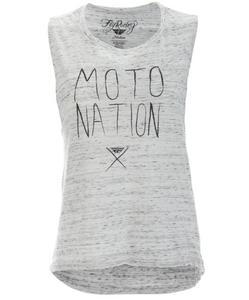 Fly Racing Moto Nation Muscle Womens T-Shirt White Marble (White, X-Large)