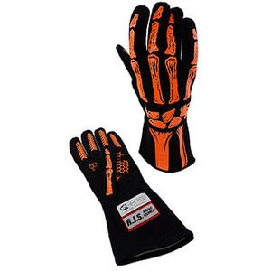RJS SAFETY Black / Orange 2X-Large 1 Layer Skeleton Driving Gloves P/N 600090144