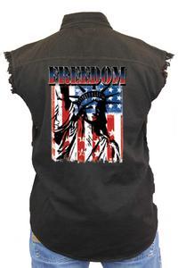 Men's Sleeveless Denim Shirt Freedom Statue of Liberty Biker Vest: BLACK (5XL)