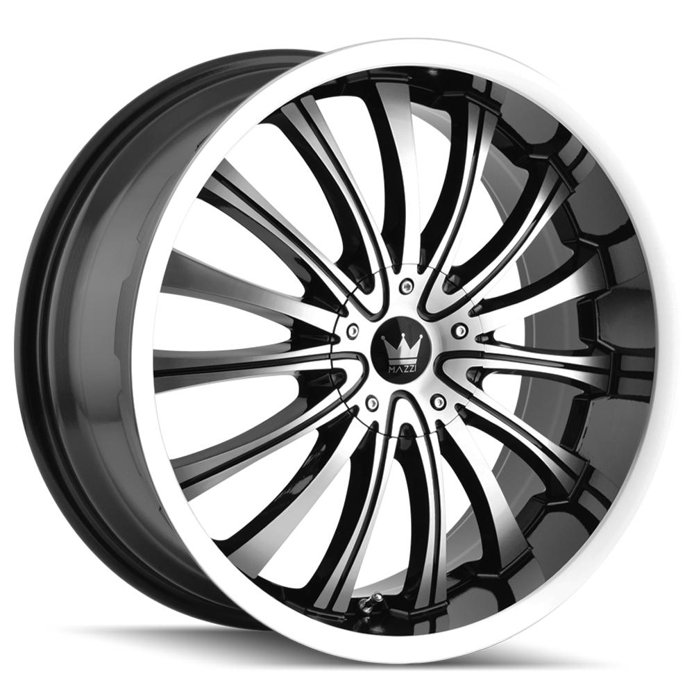 "4-Mazzi 351 Hype 18x7.5 5x105/5x115 +40mm Black/Machined Wheels Rims 18"" Inch"