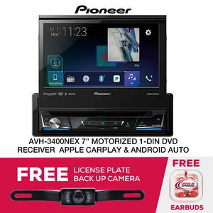 "Pioneer AVH-3400NEX 7"" Motorized 1DIN DVD Receiver & License Plate Cam"