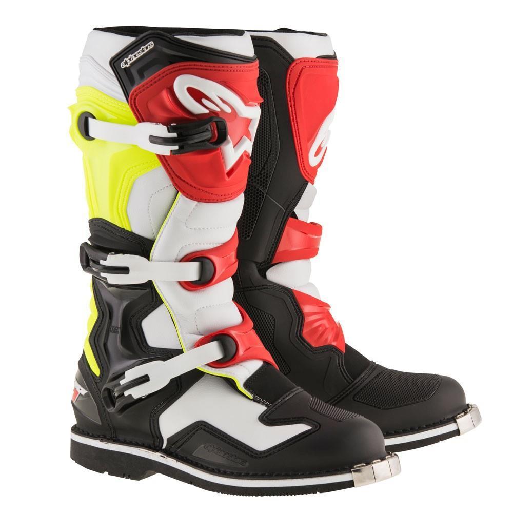 Alpinestars Tech 1 Boots Black/White/Yellow Fluorescent (Black, 15)