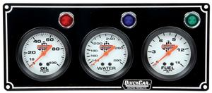 QUICKCAR RACING PRODUCTS White Face Gauge Panel Assembly P/N 61-6712