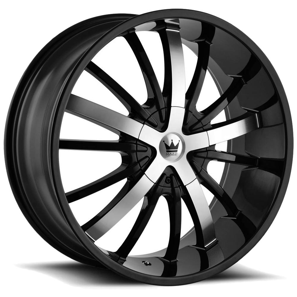 "4-Mazzi 364 Essence 24x9.5 6x135/6x5.5"" +30mm Black/Machined Wheels Rims 24 Inch"