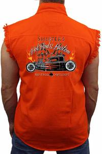 Men's Sleeveless Denim Shirt Shifters Hot Rod Kustoms: ORANGE (XL)