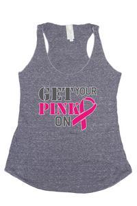 Women's Warrios Fight Strong Breast Cancer Awareness Tri blend Tank: DENIM (SMALL)