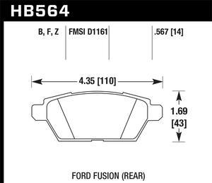 Hawk Performance HB564Z.567 Disc Brake Pad Fits 06-13 6 Fusion Milan MKZ Zephyr