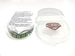 """All Sports Mouthguards Green/Black """"Braap"""" w/ Tire Tread Clear Mouthguard SM/MD"""