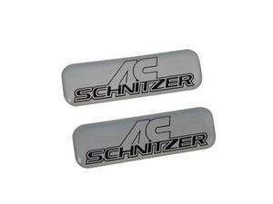 x2 BMW AC ACS EMBLEM DECALS - SILVER