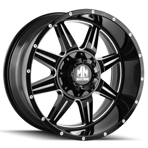 "4-Mayhem 8100 Monstir 22x10 8x6.5""/8x170 -19mm Black/Milled Wheels Rims 22"" Inch"