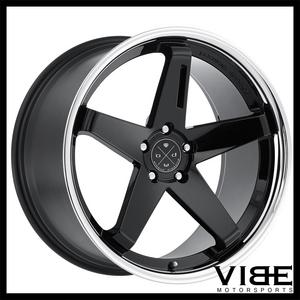 "22"" BLAQUE DIAMOND BD21 BLACK CONCAVE WHEELS RIMS FITS CADILLAC CTS V COUPE"