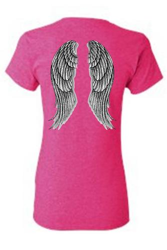 Women's Juniors Biker Angel Wings Hot Pink T-shirt (XXL)