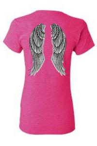 Women's Juniors Biker Angel Wings Hot Pink T-shirt (XL)