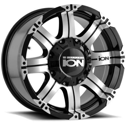 "Ion 187 16x8 6x5.5"" +10mm Black/Machined Wheel Rim 16"" Inch"