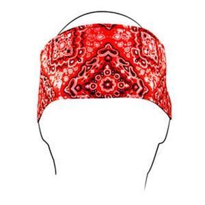 Zan Headgear Cotton Headband Red Paisley (Red, OSFM)
