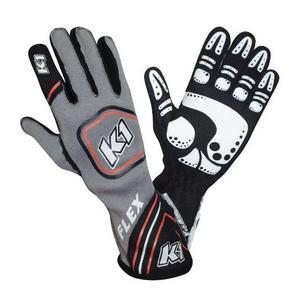K1 RACEGEAR 23-FLX-RG-M Glove Flex Grey / Red Medium FIA / SFI 5