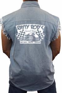 Men's Sleeveless Denim Shirt Ratty Rod's Speed Shop: LIGHT DENIM (XL)