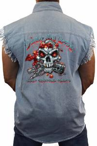 Men's Sleeveless Denim Shirt Dump My Ride Used Chopper Parts: LIGHT DENIM (Large)