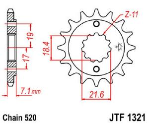 JT Sprockets Steel Front Sprocket 12T 520 Pitch JTF1321.12