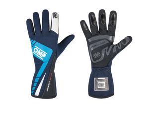 OMP Racing X-Large Navy Blue/Cyan Single Layer Driving Gloves P/N IB757EBCXL