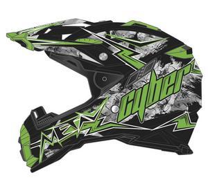 Cyber Adult Motorcycle MX ATV Helmet UX-28 Lightning Black/Green XS