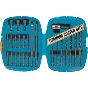 Performance Tool 25 Piece Quik Change Drill Bit Set with Titanium Coating