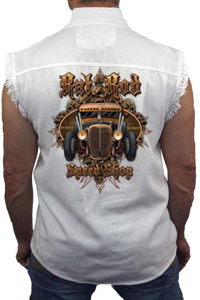 Men's Sleeveless Denim Shirt Rad Rod Speed Shop: WHITE (XL)