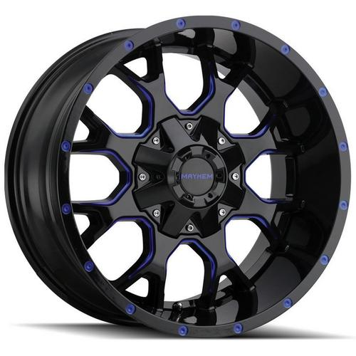 "4-Mayhem 8015 Warrior 17x9 6x135/6x5.5"" -12mm Black/Blue Wheels Rims 17"" Inch"