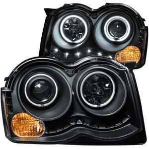 Anzo USA 111213 Projector Headlight Set w/Halo Fits 08-10 Grand Cherokee (WK)