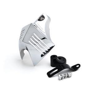Krator Chrome Big Twin Horn Cover Stock Cowbell Horns For Harley-Davidson Sportser Male Peg Mount