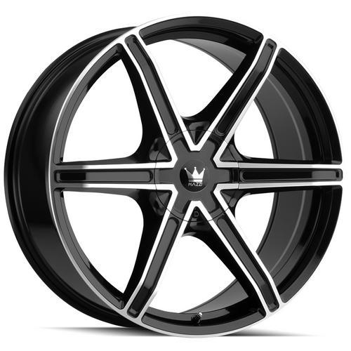 """4-Mazzi 371 Stilts 24x9.5 6x135/6x5.5"""" +30mm Black/Machined Wheels Rims 24"""" Inch"""