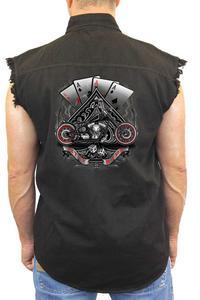"Sleeveless Denim Shirt ""Let It Ride Aces"" (4X)"
