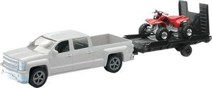 New Ray Toys 19535B 1:43 Scale White Chevy Truck with Trailer and ATV