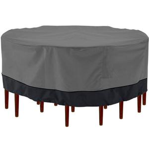 "Outdoor Patio Furniture Table and Chairs Cover 94"" Diameter Dark Grey with Black Hem - 100% Waterproof Winter Storage Cover Deck Patio Backyard Veranda Porch Table Covers"
