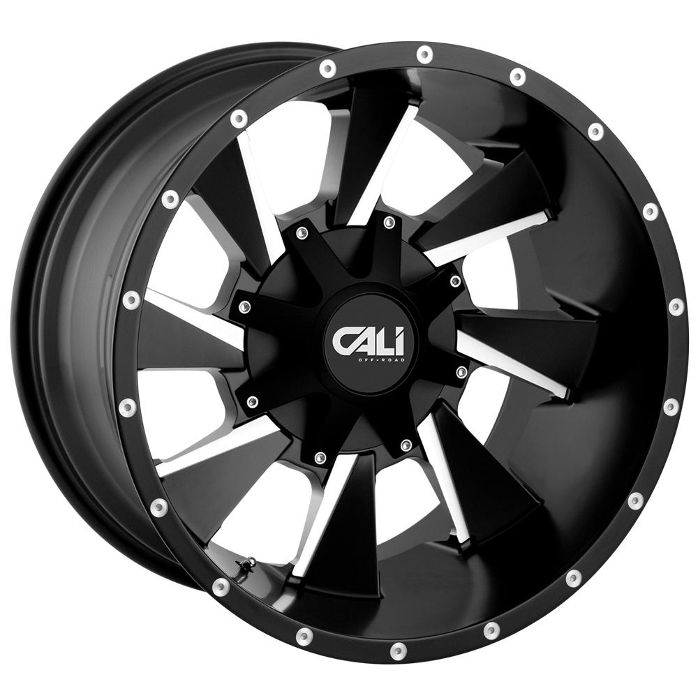 "4-Cali 9106 Distorted 20x9 6x135/6x5.5"" +18mm Black/Milled Wheels Rims 20"" Inch"