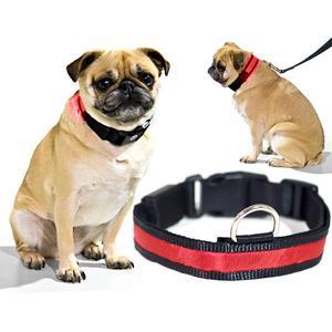 Biltek Red LED Light Dog Collar - Large - Dog Pet Night Safety Fashionable Flashing Light Up Collar Nylon Large Adjustable